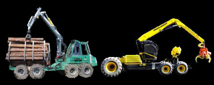 林業機械 フォワーダーグレモと次世代型ハーベスタ ハイランダー