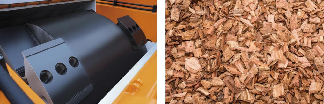 木材破砕機のカッター刃と切削チップ
