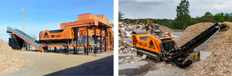 定置式(電気式)と移動式(エンジン式)の大型木材破砕機