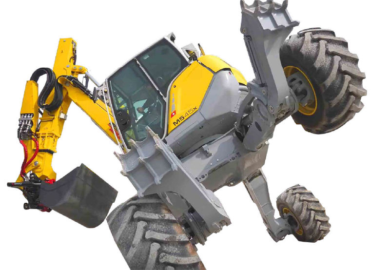 4輪多関節作業型機械スパイダー あらゆる地形で活躍する油圧ショベル